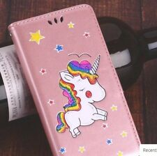 For iPhone SE / 5S - CARD WALLET FLIP POUCH CASE COVER ROSE GOLD GLITTER UNICORN