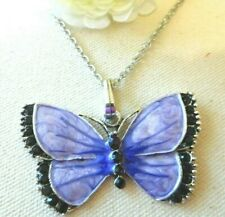 New Necklace Pendant Charm Silver Tone Butterfly Light Purple Us Seller Stock