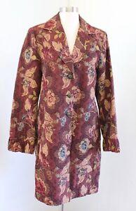 Size M Pink Floral Tapestry Navy long Vest