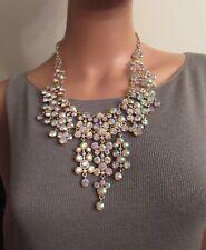 Natasha AB Rhinestone Statement Cascade Necklace Pageant Wedding Bling Superb!