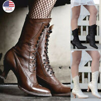 Women Victorian Pointed Toe Mid-Calf Faux Leather Boots Punk Lace Up Kitten Boot