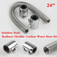"Stainless Steel Chromed Aluminum 24"" Radiator Coolant Hose Kit Clamp Covers Caps"