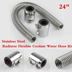 "Stainless Steel Chromed Aluminum 24"" Radiator Coolant Hose Kit Clamp Covers Caps"