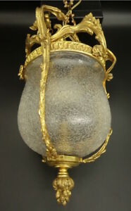 LARGE LANTERN STAMPED, LOUIS XV STYLE END 19TH - BRONZE & GLASS - FRENCH ANTIQUE