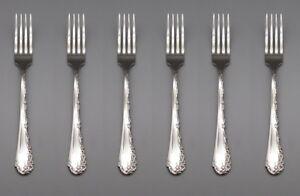 SET OF SIX - Oneida Stainless BELLE ROSE Dinner Forks * USA