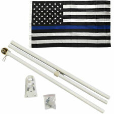 3x5 3'x5' Police Memorial Thin Blue Line Flag White 6ft Pole Kit Gold Ball Top