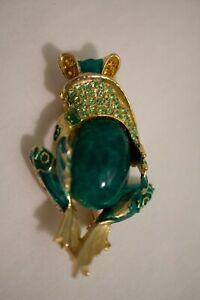 Vintage Frog Jelly Belly Green Enamel gold Tone Brooch Pin