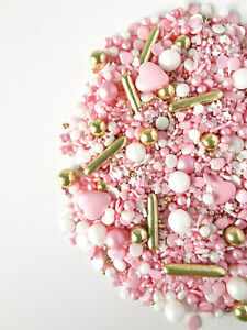 Edible Sprinkles Mix Pink Gold Luxury 50g Baby Shower Cupcake Cake Decoration