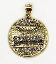 """10K Solid Yellow Gold Last Supper Jesus Religious Pendant 7.2 Gr 1.42"""" Large"""