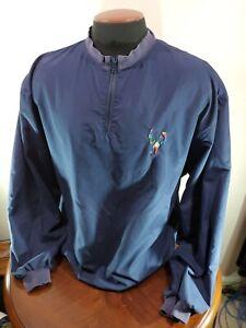 Golf Jacket Mens XL Blue Embroided Polyester Pivot Rules vintage Quarter Zip