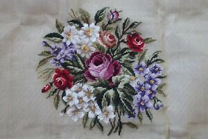 hand worked TAPESTRY chair SEAT COVER rose flower medallion 35cm square design