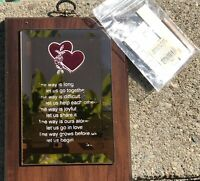 Mirrored Love Poem Solid Wood Wall Plaque 8 X 6""