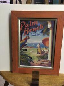 Palm beach Florida Kerne Erickson Vintage Style Travel Poster Print Framed