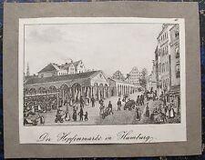 HAMBURG Hopfenmarkt. Originale Lithographie von P. SUHR ca. 1840