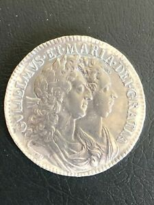 1689 Silver Half Crown UK Great Britain King William & Queen Mary Ex-Jewelry