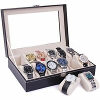 12 Grids Slots Leather Jewelry Watch Portable Display Case Box Storage Holder