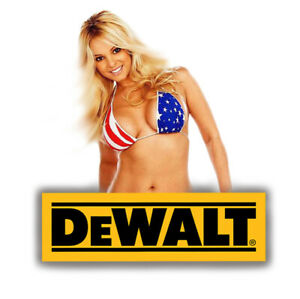 DEWALT TOOLS STICKER DECAL SEXY USA PINUP GIRL MECHANIC GLOSSY LABEL TOOL BOX
