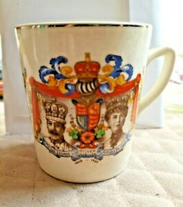 VINTAGE COLLECTIBLE Cup 1910-1935 Silver Jubilee King Georges V Queen Mary