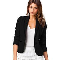 Women's Slim Fit Casual Smart Short Blazer Ladies Business Jacket Coat Suit Tops