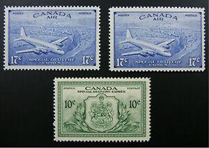 CANADA, Scott CE3-CE4, Circumflex (Error) & Grave Acents, plus E11, All MNH.