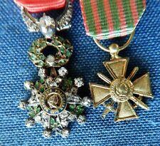 2 French Medals: Croix de Guerre 1914-18, Legion of Honor (diamonds + emeralds)