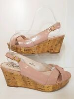 M&S Pink Slingback Peeptoe Sandals Wedges Size 6.5 Wide Worn Once