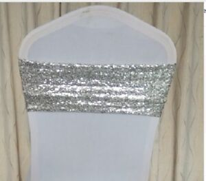 Glitter Sequin Chair Bands Sash Cover 20cm x 65cm