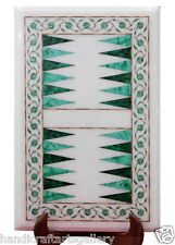 """18""""x12"""" White Marble Coffee Table Top Backgammon Inaly Playroom Decor Gift H2207"""