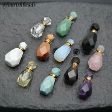 Faceted Natural Gemstone Mini Perfume Bottle Pendant Linked Chain Necklace