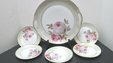 ZS & Co. Scheizer Bavaria Cake Plate with 5 Dessert Plates Lustre Pink Roses