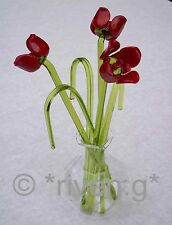 RED ROSES GLASS ORNAMENT SCULPTURE@VASE@HANDMADE BUNCH OF Flowers@HOUSE WARMING