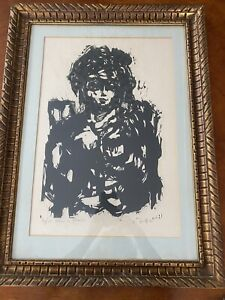 """Arthur C. Danto """"Woman in Chair"""" 1961 Framed Woodcut signed 116/175"""