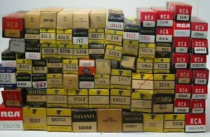 LOT of 80 Vintage RCA Sylvania GE Vacuum Electron Tubes with boxes Untested