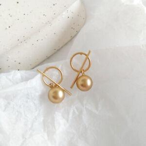 Metal Geometric Bead Stud Earrings