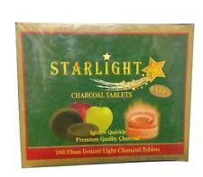 100 ct 33mm STARLIGHT APPLE TREE SHELL Charcoal Instant Burn Coal Hookah Incense