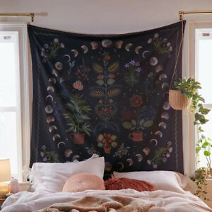 Moon Phase Tapestry Wall Hanging Botanical Celestial Floral Wall Tapestry HiYZY