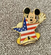 New listing Disney Store Star Shaped American Flag Mickey Mouse Pin New