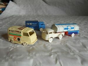 Sesame series plastic trucks milk tanker police van and Cafe Ivor 1960s french