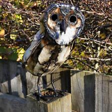 Metal Barn Owl Garden Ornament Sculpture Art - Handmade Recycled Metal Bird
