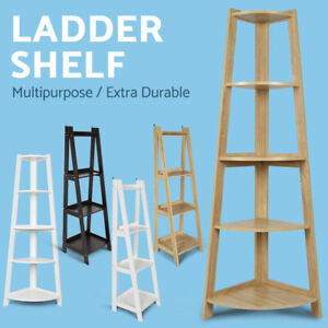 Display Bookshelf 4/5 Tier Ladder Corner Shelf Book Rack Bookcase Wood