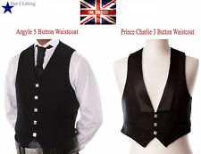Scottish Argyle & Prince Charlie Kilt Waistcoat Black Outfit Vest 100% Wool