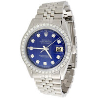 Mens Rolex 36mm DateJust 16014 Diamond Watch Jubilee Band Glossy Blue Dial 2 CT.