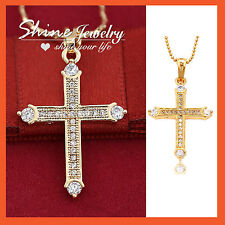 18K GOLD GF CROSS CRUCIFIX LAB DIAMOND WOMENS MENS SOLID CHAIN NECKLACE PENDANT