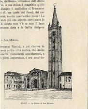 Stampa antica FORLI' Forlì Chiesa di San Michele Romagna 1892 Old antique print