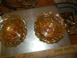 2 INDIANA CARNIVAL GLASS Vintage Marigold & Amber Bowl Candle Holder