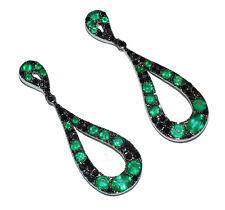 18ct White Gold, Emerald & Black Diamond Fancy Drop Earrings (WAS £1240)