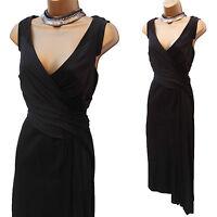 Size 12 UK KAREN MILLEN Black Ponte Roma Draped Cocktail Wiggle Evening Dress