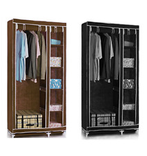 Double Canvas Wardrobe Clothes Hanging Rail Shelves Storage Black