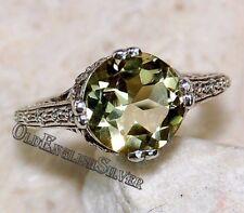 2CT Lemon Citrine 925 Solid Sterling Silver Art Deco Filigree Ring Jewelry Sz 7