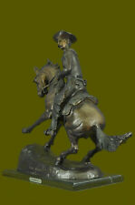 Reproduction Bronze Signed Remington Bronze Cowboy Riding Horse Statue Western A